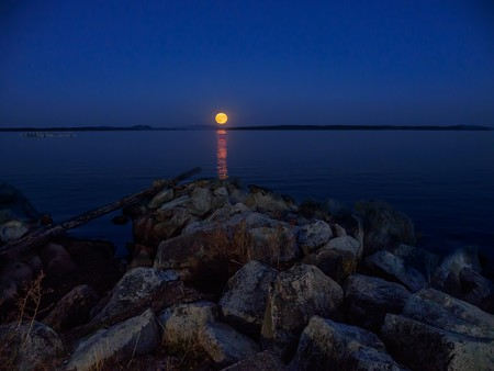 Harvest moon rising over Sidney BC shore