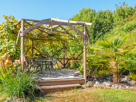 Wooden gazebo with table and chairs, surrounded by lush greenery and flowers, shade created by climbing grape vines. Stock Photo