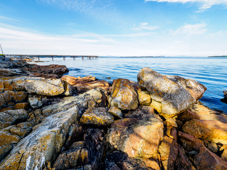 Rocky shore at the low tide in Sidney on Vancouver Island, British Columbia, Canada,