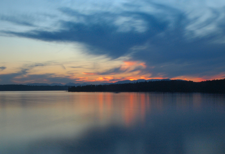Spectacular sunset at the Patricia Bay in Sidney, Vancouver Island, British Columbia