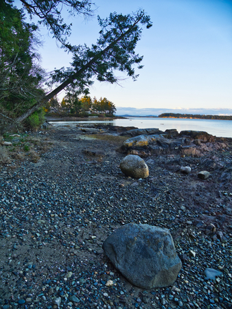 Evening at the rocky shore of Victoria on Vancouver Island, British Columbia