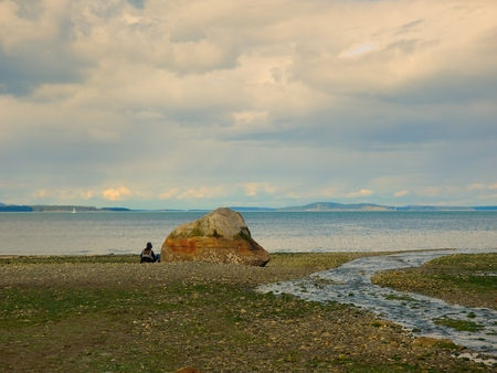 Rocky beach at the low tide in Mt. Douglas Park, Victoria, Vancouver Island, British Columbia, Canada