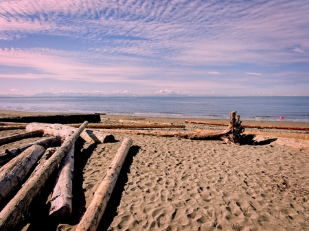 Nudist Wreck Beach during sunny day in Vancouver, British Columbia, Canada Stock Photo