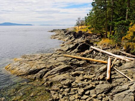 Public Ruckle Provincial Park shoreline on the Salt Spring Island, largest of the Gulf Islands in British Columbia