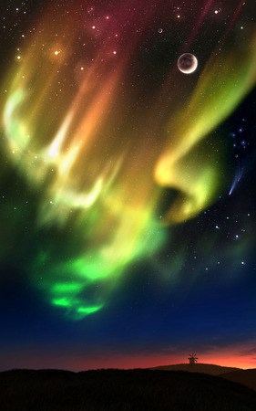 Fictional illustration of auroras over the hills during a starry night and a sunset