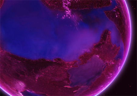 orbital: Orbital view on an extraterrestrial purple planet with atmosphere Stock Photo