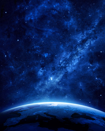 horizons: Earth at night as seen from space with blue, glowing atmosphere and space at the top. Perfect for illustrations.  Elements of this image furnished by NASA