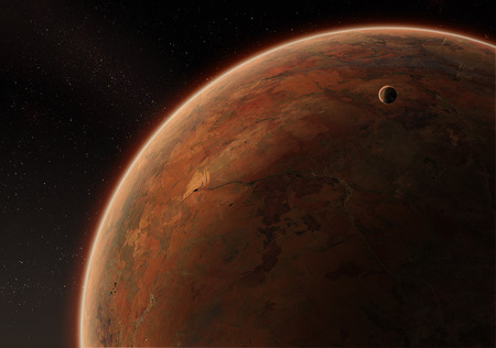 orbital: Orbital view on an extraterrestrial desert planet with atmosphere and a moon Stock Photo