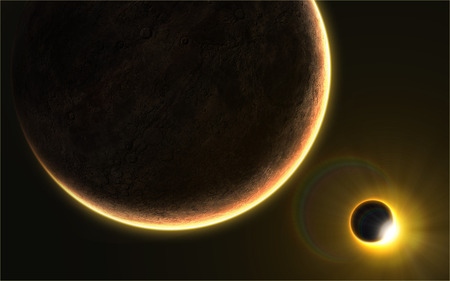 eclipse: Orbital view on an extraterrestrial desert planet with atmosphere and a solar eclipse in the back