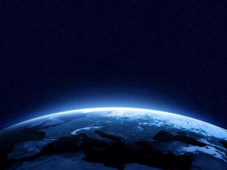 Aarde bij nacht gezien vanuit de ruimte met blauwe, gloeiende sfeer en ruimte aan de top. Perfect voor illustraties. Elementen van deze afbeelding geleverd door NASA Stockfoto