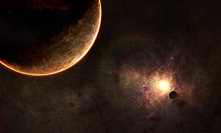 외계 행성의 대기 행성과 태양 이클립스에있는 궤도보기