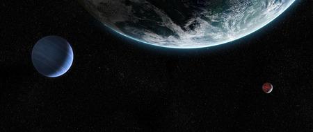 대기권과 우주에서 두 달을 지닌 외계 지구와 같은 행성에 대한 궤도보기