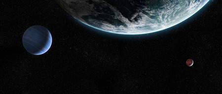 Orbital view on an extraterrestrial Earth-like planet with atmosphere and its two moons in space 版權商用圖片