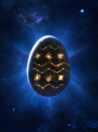 globe terrestre dessin: En forme d'oeuf planète réaliste avec le dessin typique de Pâques fabriqués à partir de lumières de la ville