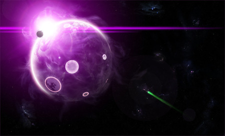 orbital: Orbital view on an extraterrestrial purple planet with atmosphere and a solar eclipse
