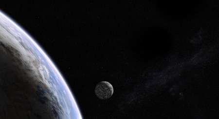 orbital: Orbital view of Earth and colonized Moon with city lights on the dark side and with the Milky Way galaxy in the back. Elements of this image furnished by NASA