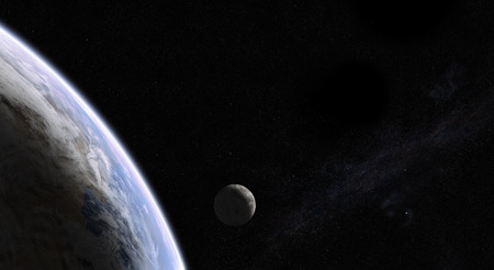 orbital: Orbital view of Earth and Moon with the Milky Way galaxy in the back. Elements of this image furnished by NASA