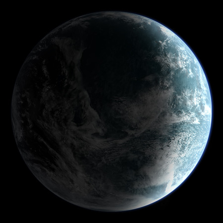 orbital: Orbital view on an extraterrestrial Earth-like planet with atmosphere