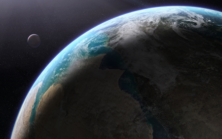 orbital: Orbital view of an extraterrestrial Earth-like planet with atmosphere and a moon-like planet rising behind it. Elements of this image furnished by NASA Stock Photo