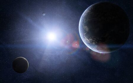 Orbital view of couple of extraterrestrial planets and a sun shining between them. Banco de Imagens