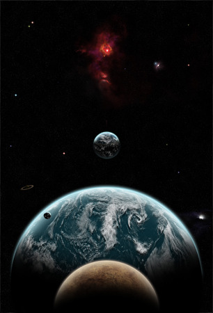 earthlike: Big Earth-like planet covered in clouds with its moons and a red nebula in space Stock Photo