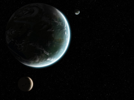 orbital: Orbital view on an extraterrestrial Earth-like planet with atmosphere and its two moons in space Stock Photo
