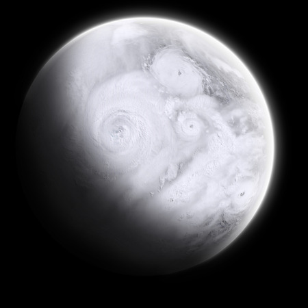 orbital: Orbital view on an extraterrestrial Earth-like planet with lots of typhoons and storms