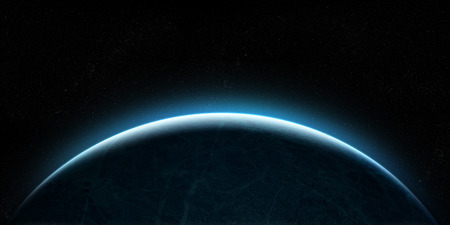 Orbital view on an extraterrestrial Earth-like planet with atmosphere rising