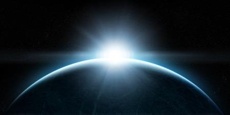 Orbital uitzicht op een buitenaardse aarde-achtige planeet met sfeer en een opkomende zon erboven