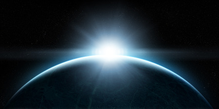 blue earth: Orbital view on an extraterrestrial Earth-like planet with atmosphere and a sun rising above it Stock Photo