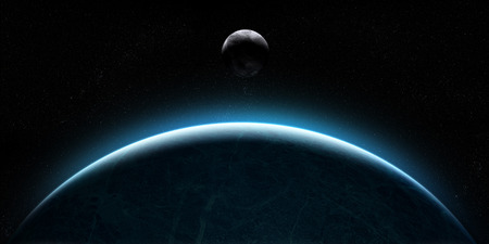 orbital: Orbital view on an extraterrestrial Earth-like planet with atmosphere and a moon-like planet rising behind it Stock Photo