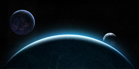 orbital: Orbital view on an extraterrestrial Earth-like planet with atmosphere and two of its moons rising behind it