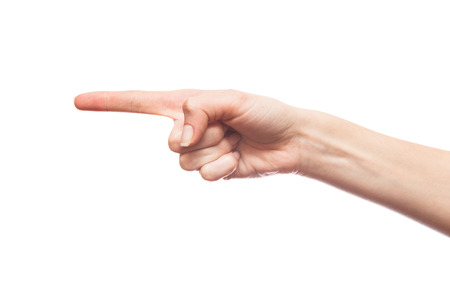 Isolated white hand pointing with a finger