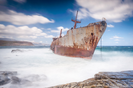 andros: Abandoned shipwreck on Andros, Greece Stock Photo