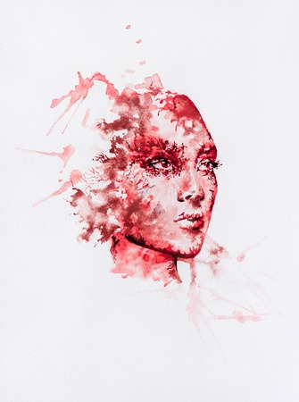Watercolor abstract portrait of red colored face with random splashes around Stock Photo