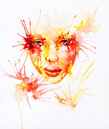 Watercolor abstract portrait of colored face with random splashes around