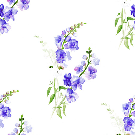 purple flowers: Watercolor pattern with a plant with couple of branches with purple flowers