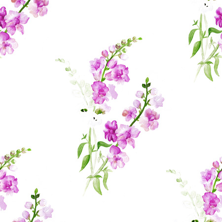 magenta: Watercolor pattern with a plant with couple of branches with pink flowers