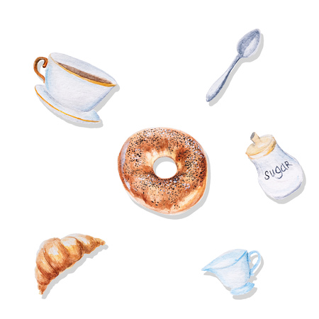 dessert buffet: Watercolor illustration of a bakery with a spoon, cup of tea, sugar and milk