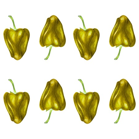 Watercolor seamless repeatable pattern of yellow bell peppers Stock Photo