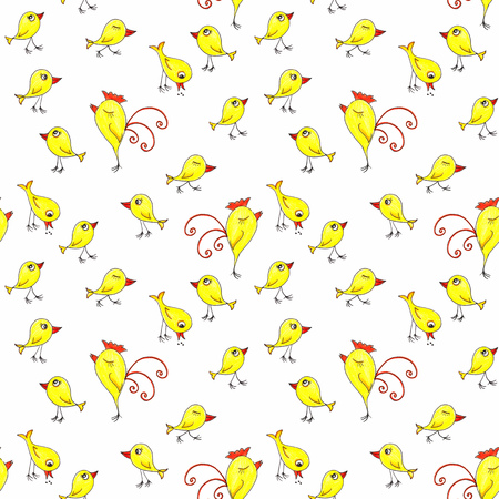 Repeatable pattern collection of doodle pencil illustration of bright yellow chichen on white