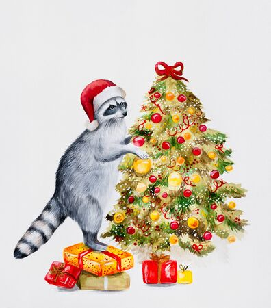 Cute raccoon in a red hat standing on boxes with presents dressing up the new years tree. Perfect for postcard and New Year illustrations. Stock Photo
