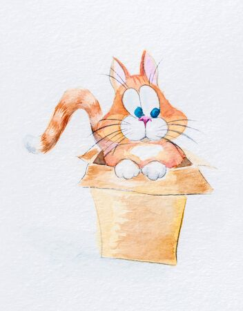 Watercolor image of a cat in  box Stock Photo