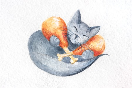 Watercolor cat with chicken drumsticks