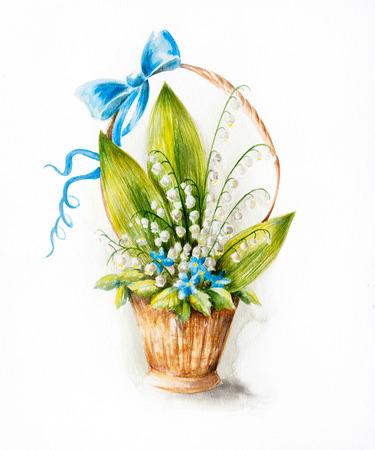 mayflower: Watercolor illustration of mayflower