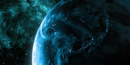 View on the night Earth with city lights glowing on the dark side. Planet is covered in clouds. Asia region. Blue and cyan color scheme.