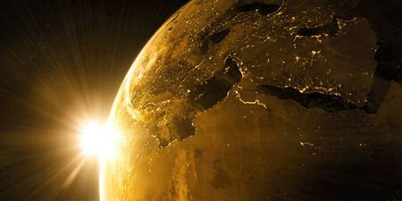 starfield: View on the night Earth with city lights. Europe, North Africa and Middle East region. Golden and yellow color scheme. Elements of this image furnished by NASA. 3d illustration Stock Photo