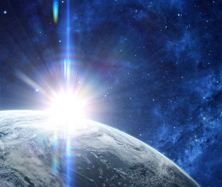 starfield: Sunrise in space with prominent sun flare and streaks. Orbital view on a planet covered in clouds from space. Planet is covered in clouds.