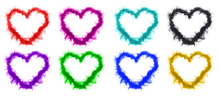 Red, magenta, purple, green, blue, cyan, black and yellow colored feather boa hearts on white background