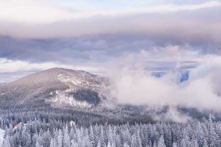 View from Dragobrat mountain, Carpathian, Ukraine during a beautiful winter evening